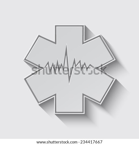 Medical symbol of the Emergency - Star of Life - icon isolated with shadow on a grey background - stock vector
