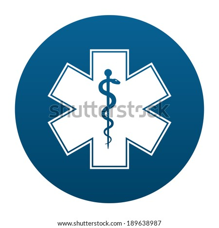 Medical symbol of the Emergency - Star of Life in circle icon isolated on white background. Vector illustration - stock vector