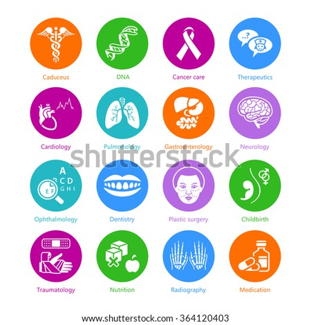 Medical symbols, specialties and human organs color icons - stock vector