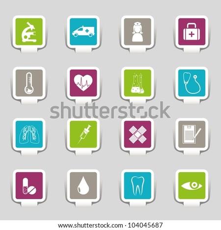 Medical symbols, tools, and medicine - stock vector