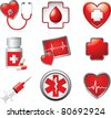 Medical symbols, tools, and medicine on white backdrop - stock vector