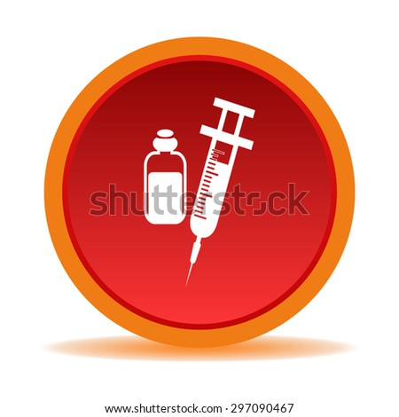 Medical syringe icon on a red background - stock vector