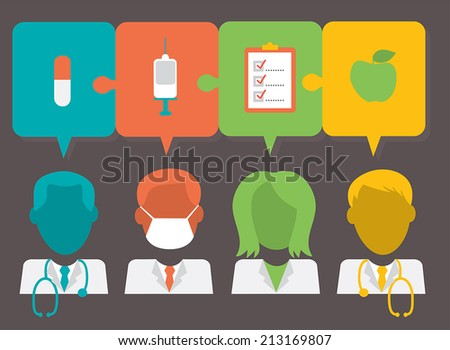 Medical teamwork with medical icons: doctor, nurse, surgeon with speech bubbles - EPS 10 - stock vector