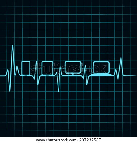 Medical technology concept -heartbeat gadgets icon  - stock vector