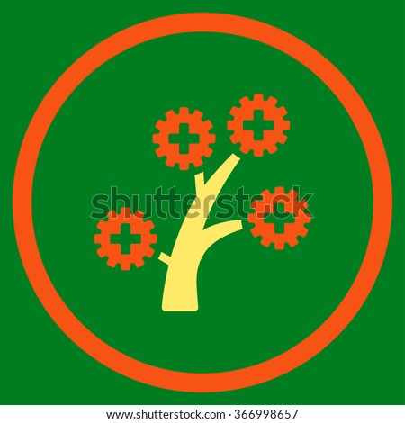 Medical Technology Tree vector icon. Style is bicolor flat circled symbol, orange and yellow colors, rounded angles, green background. - stock vector