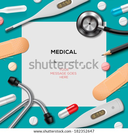 Medical template with medicine equipment, vector illustration.  - stock vector