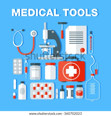Medical Tools Icons Set. Medical Background with Health Care Stuff in Flat Design in vector - stock vector