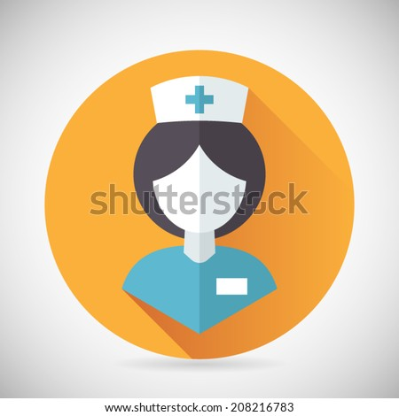 Medical Treatment Nurse Symbol Female Physician Icon with long shadow on Stylish Background Modern Flat Design Vector Illustration - stock vector