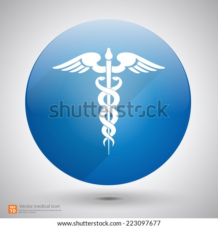 Medical vector icon ,Caduceus sign with shadow - stock vector