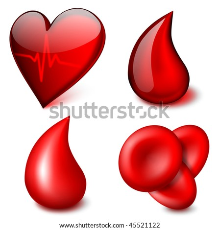 Medical vector icons, blood theme - EPS 10 - stock vector