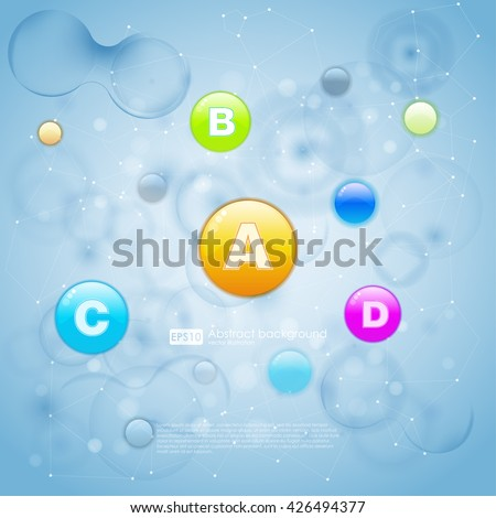 Medical vitamins and cell background. Vitamins molecule chemical science. Blue cell background. Life and biology, medicine scientific, bacteria, molecular research DNA. Vector illustration. - stock vector