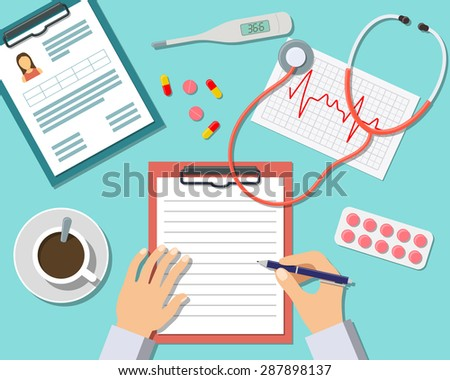 Medical Workplace. Doctor working at the table in clinic. Flat Design, Vector Illustration Icons - stock vector