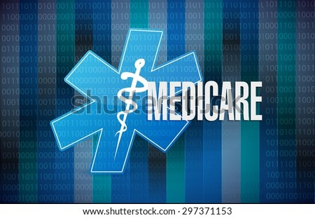 Medicare binary sign concept illustration design over black - stock vector