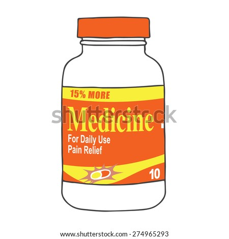 Medication Bottle for when you Get Hurt or Sick on the Job or Have Back Pain or Even a Simple Headache.  The Capsules, Gel Tabs, or Tablets will Make Feel Healthy and Strong.  The Drug Relieves Pain! - stock vector