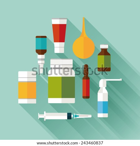 medicine and drugs icons set with long shadows. flat style vector illustration - stock vector