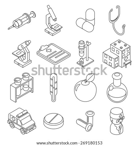 Medicine and health care isometric 3d line icons. Drug and clinic, laboratory, element syringe, thermomete. Vector illustration - stock vector