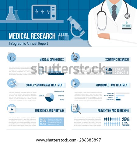 Medicine and healthcare infographics with arms crossed doctor and laboratory - stock vector
