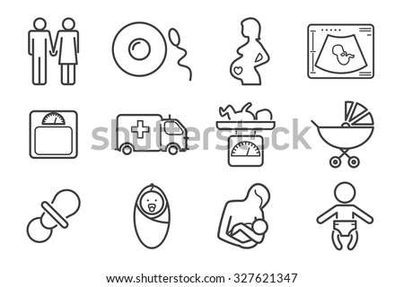 Medicine and pregnancy vector line icons set. Baby and weighing, scales and uzi, health medical and care child, mother birth illustration - stock vector
