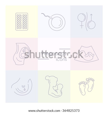 Medicine and pregnancy vector line icons set. Human embryo. Abstract fetus symbol. Breastfeeding. Health medical and care child. Diagnostic equipment, medical tools. Motherhood. - stock vector