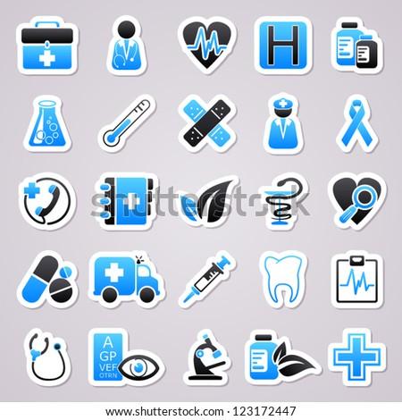 Medicine blue stickers - stock vector