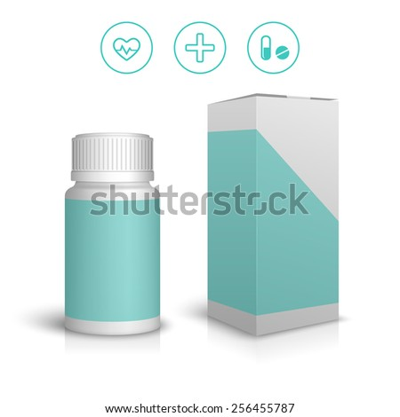 Medicine bottle and icons - stock vector