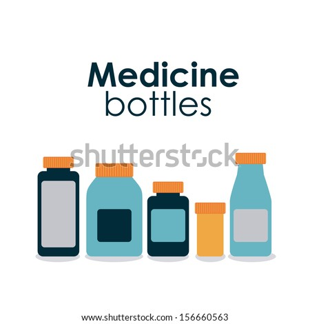 medicine bottles over white background vector illustration - stock vector