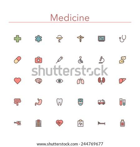 Medicine colored line icons set. Vector illustration. - stock vector