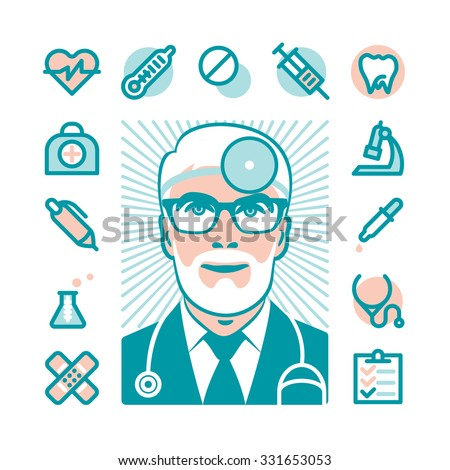 Medicine doctor with Fat Line Icons for web and mobile. Modern minimalistic flat design elements of medicine diagnostic, prescription, healthcare equipment, medical service - stock vector