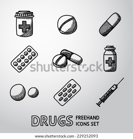 Medicine (drugs) handdrawn icons set with - pills box, tablets, pill, blister, vitamins, syringe, liquid medicine. - stock vector