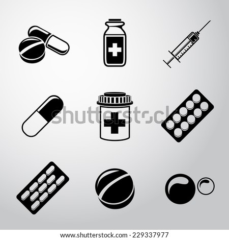 Medicine (drugs) monochrome icons set with - pills box, tablets, pill, blister, vitamins, syringe, liquid medicine. - stock vector