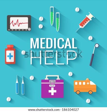 Medicine flat icons set concept. Vector illustration - stock vector