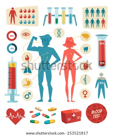 Medicine, health and healthcare. Infographic elements. Vector illustration. - stock vector