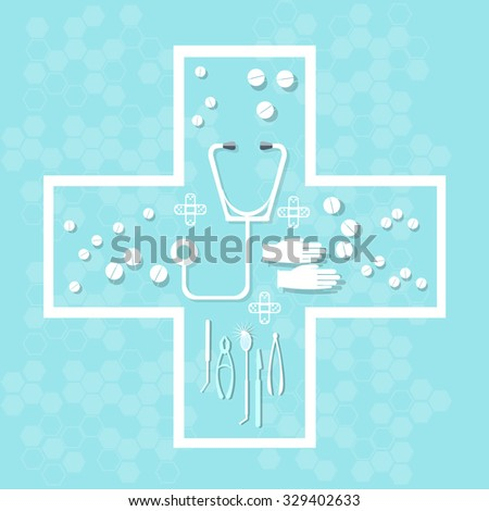 Medicine health care and medical research pills tablets capsules in cross shape vector concept - stock vector