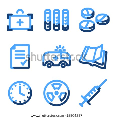 Medicine icons, blue contour series - stock vector