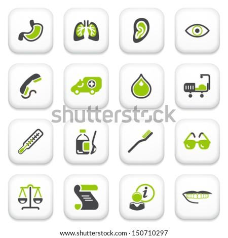 Medicine icons. Green gray series. - stock vector