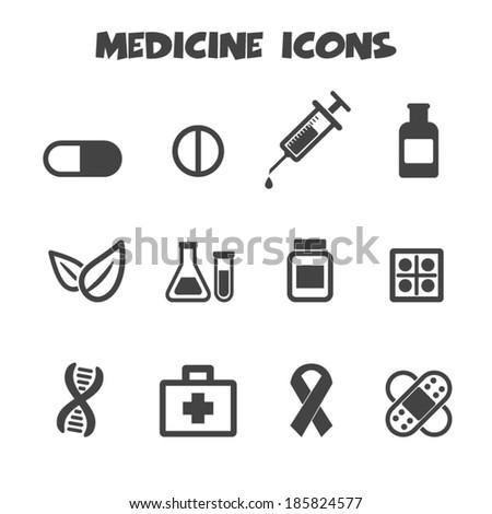 medicine icons, mono vector symbols - stock vector