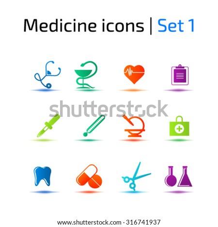 Medicine icons set - stock vector