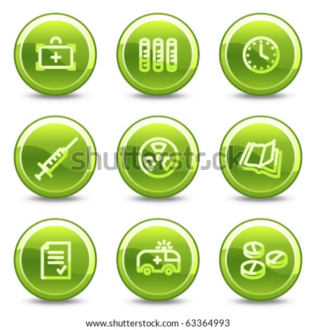 Medicine icons set 1, green circle glossy buttons - stock vector
