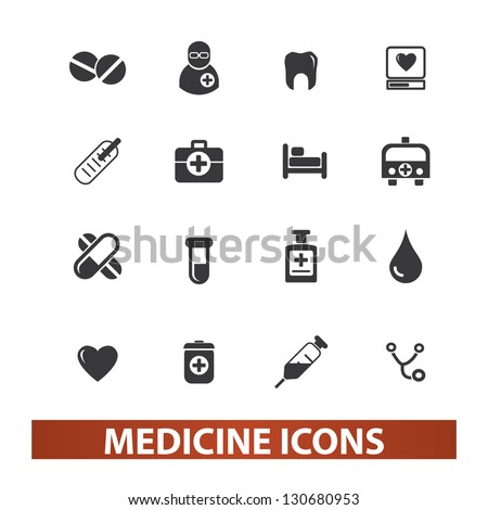 medicine icons set, vector - stock vector