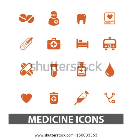 medicine icons, signs set, vector - stock vector
