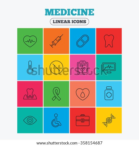 Medicine icons. Syringe, heartbeat and pills symbols. Tooth health, eye and blood donate. Awareness ribbon. Linear icons in colored squares. - stock vector
