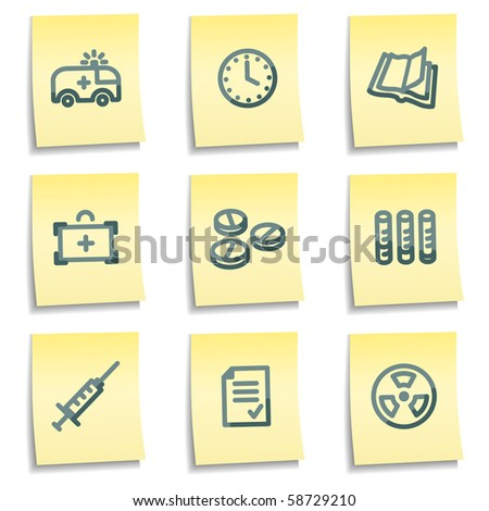 Medicine icons, yellow notes series - stock vector