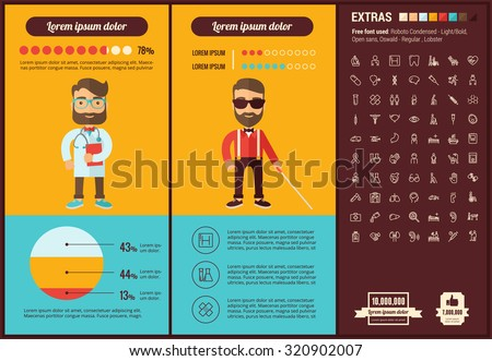 Medicine infographic template and elements. The template includes illustrations of hipster men and huge awesome set of thin line icons. Modern minimalistic flat vector design. - stock vector