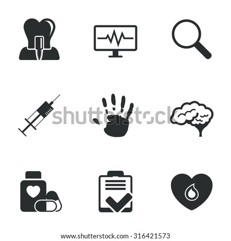 Medicine, medical health and diagnosis icons. Blood, syringe injection and neurology signs. Tooth implant, magnifier symbols. Flat icons on white. Vector - stock vector