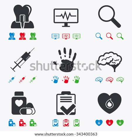Medicine, medical health and diagnosis icons. Blood, syringe injection and neurology signs. Tooth implant, magnifier symbols. Flat black, red, blue and green icons. - stock vector