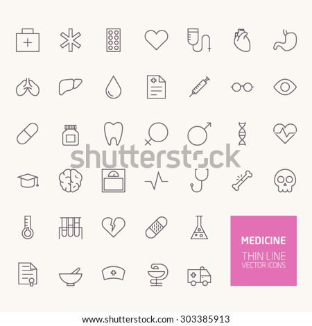 Medicine Outline Icons for web and mobile apps - stock vector