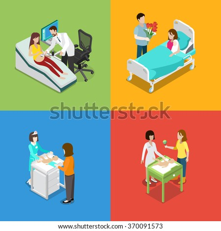 Medicine prenatal pregnancy health care hospital nursing set. Flat 3d isometry isometric medical concept web vector illustration. Ultrasound fetus baby checkup sex determination sexing newborn. - stock vector