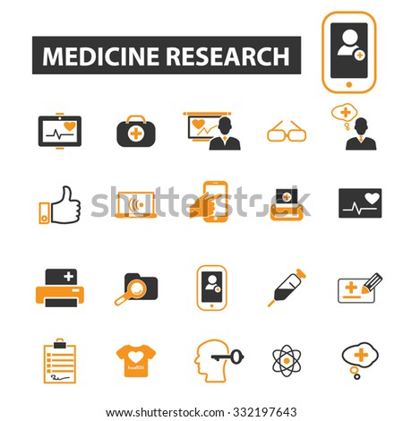 medicine research, technology icon & sign concept vector set for infographics, website - stock vector