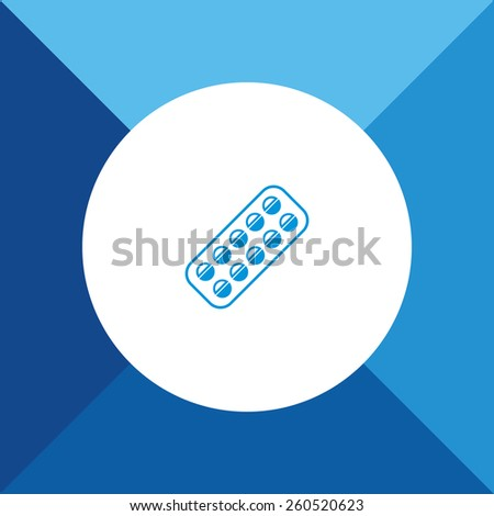 Medicine Tablets Icon on Blue Background. Eps-10. - stock vector