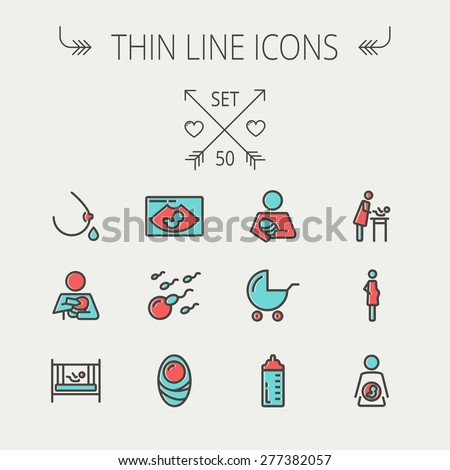 Medicine thin line icon set for web and mobile. Set include- breastmik, breastfeed. crib, icons. Modern minimalistic flat design. Vector icon with dark grey outline and offset colour on light grey - stock vector